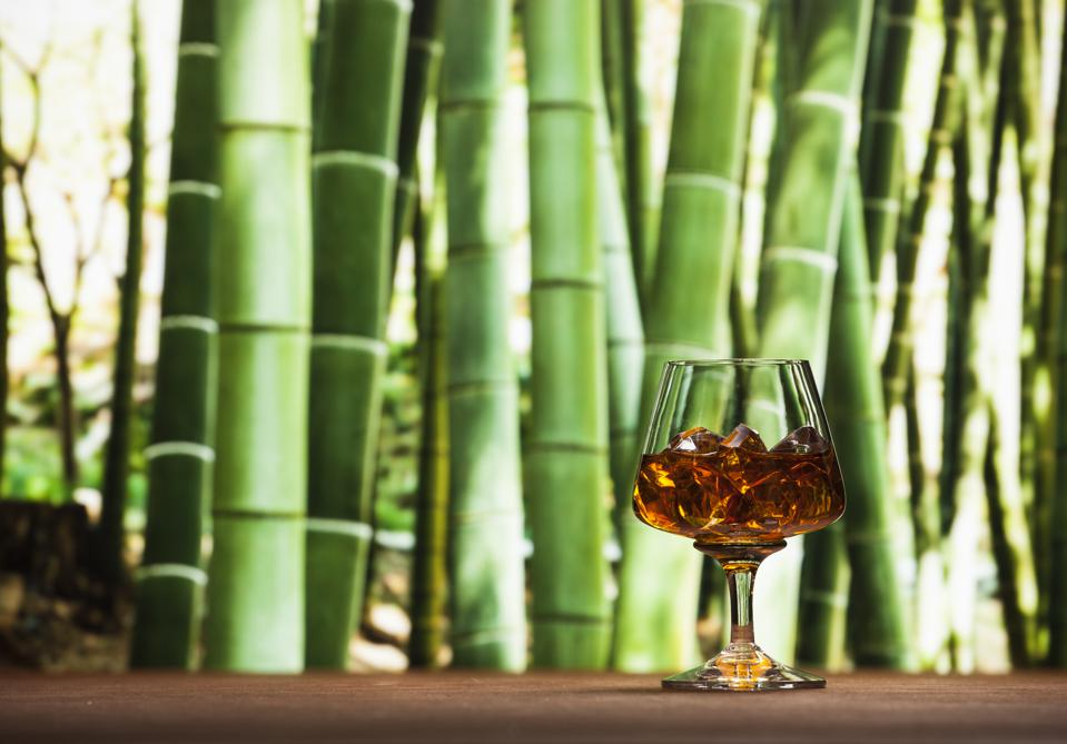 Whisky in bamboo background
