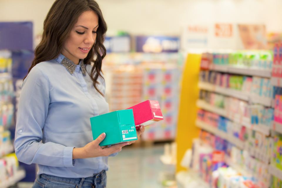 Woman choosing tampons