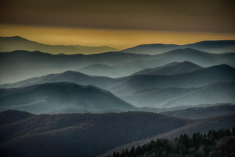 Sunset at Clingman's dome. It's one of the best places to visit.