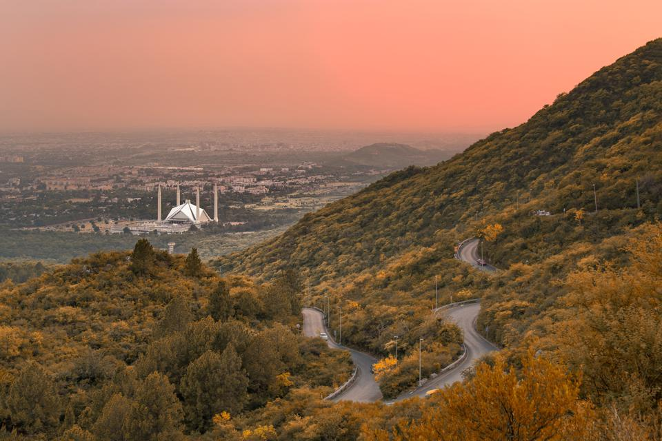 Beautiful Al-Faisal Mosque from Margala Hills National Park