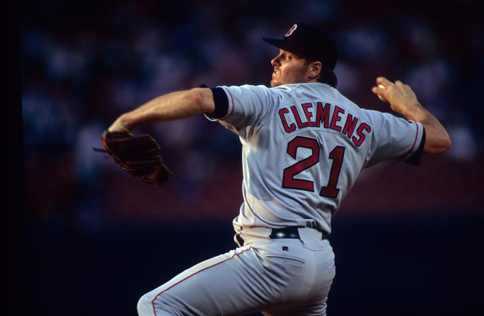 Roger Clemens, with the Boston Red Sox, in April 1993