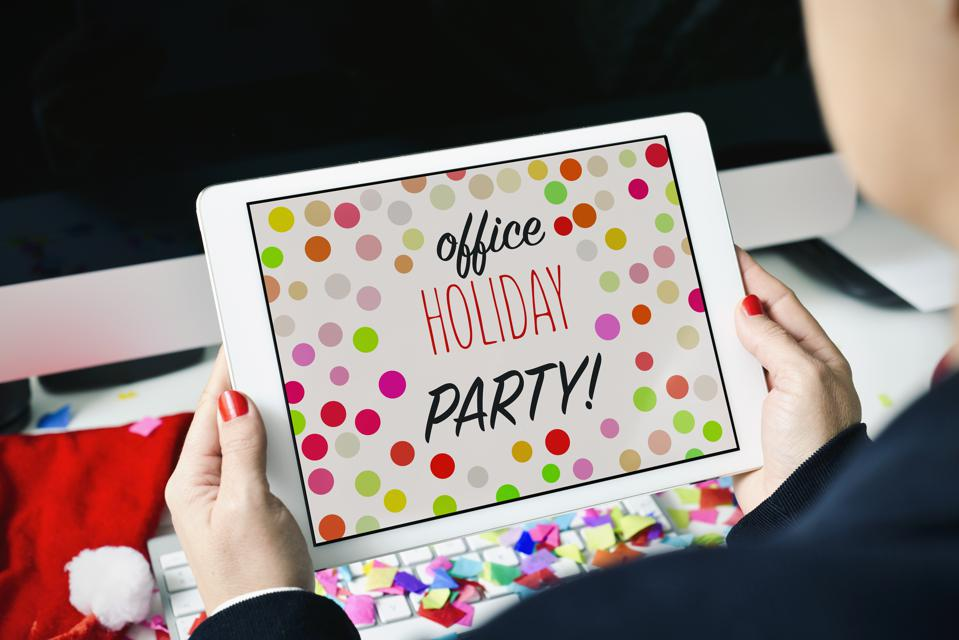 text office holiday party in a tablet