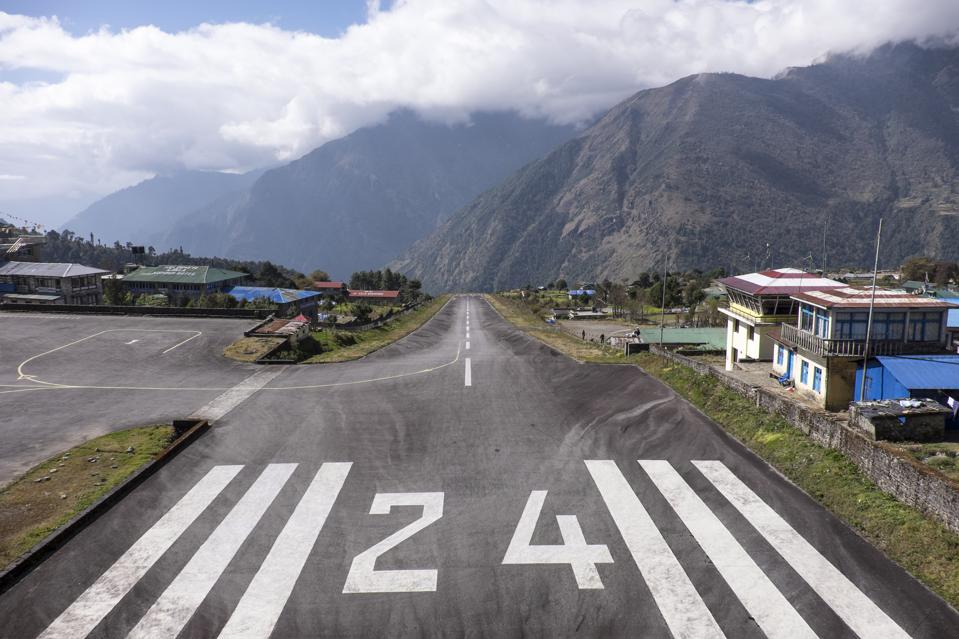 View along the runway at Tenzing Hillary Airport.