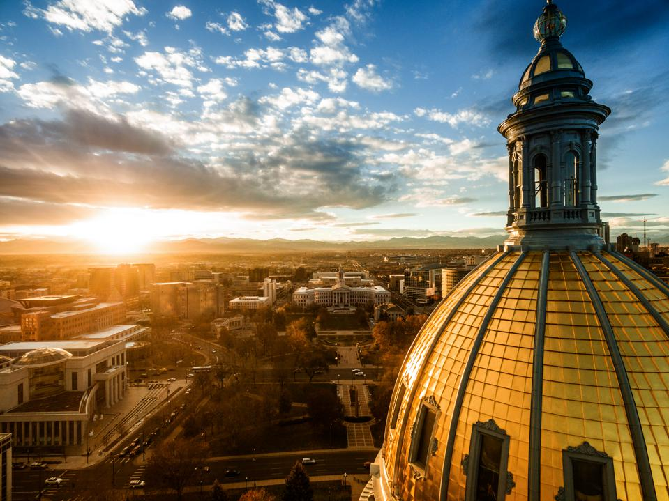 Aerial drone sunset photo.  Colorado capital building, city of Denver