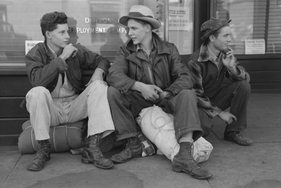 Boys Looking for Work Waiting for Employment Service Office to Open, Yakima, Washington