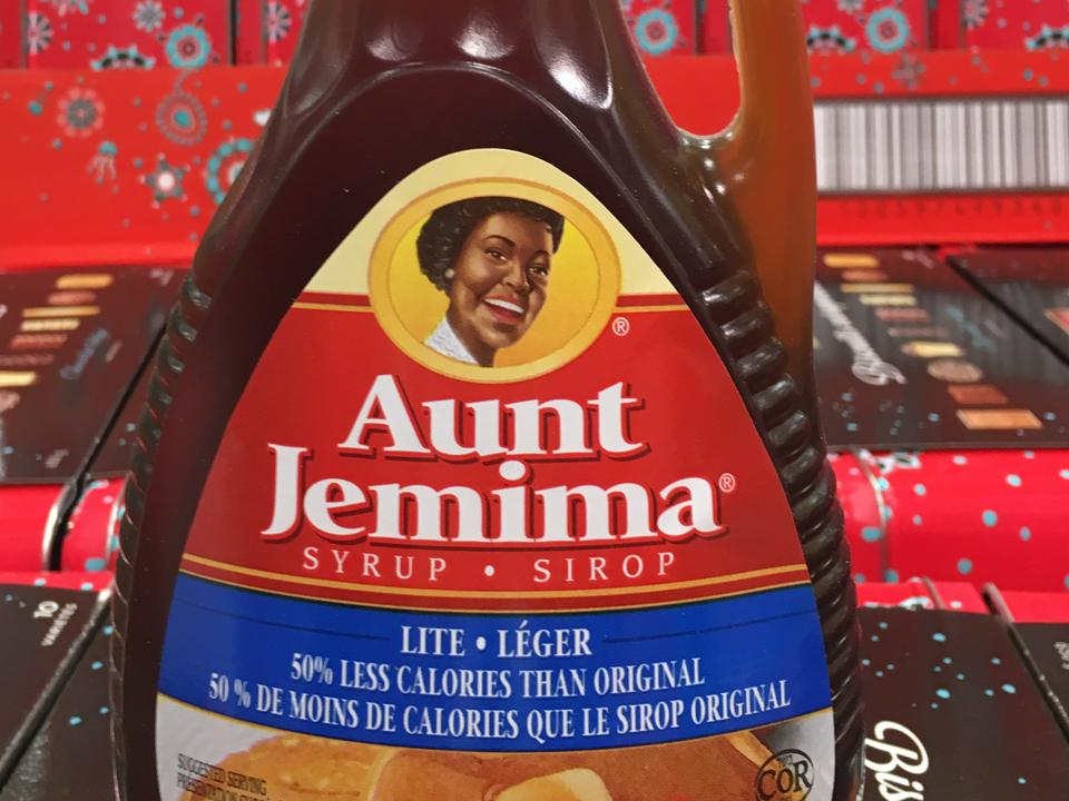 Aunt Jemima Syrup label in bottle. Aunt Jemima is a brand of...