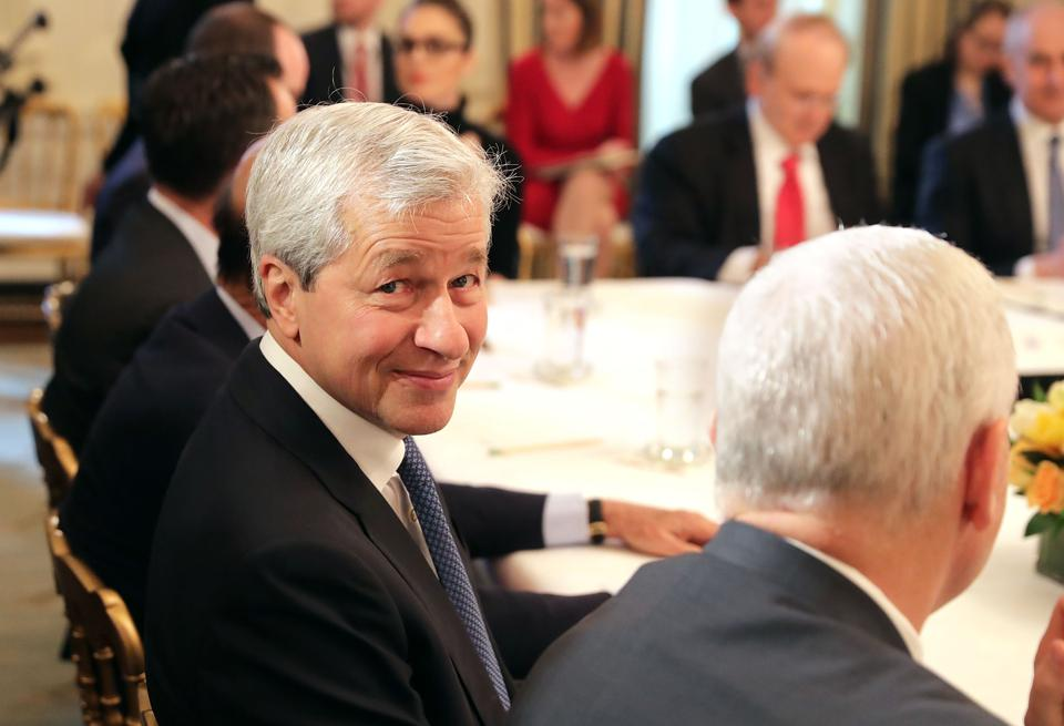 WASHINGTON, DC - FEBRUARY 03:   JPMorgan Chase CEO Jamie Dimon attends a policy forum with U.S. President Donald Trump in the State Dining Room at the White House February 3, 2017 in Washington, DC. Leaders from the automotive and manufacturing industries, the financial and retail services and other powerful global businesses were invited to the meeting with Trump, his advisors and family.  (Photo by Chip Somodevilla/Getty Images)