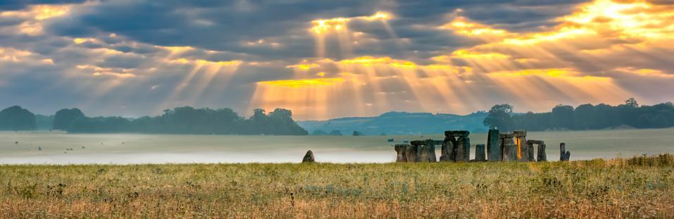 Cloudy sunrise over Stonehenge