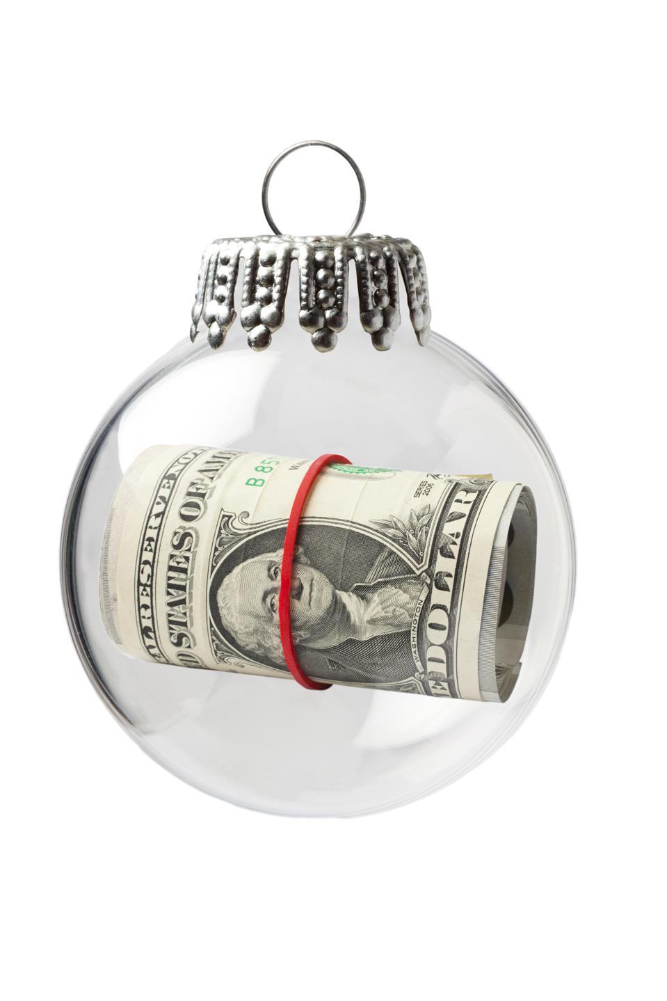 US Paper Currency in a Christmas Ornament