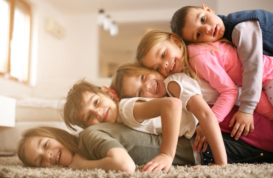 Children having fun at home.