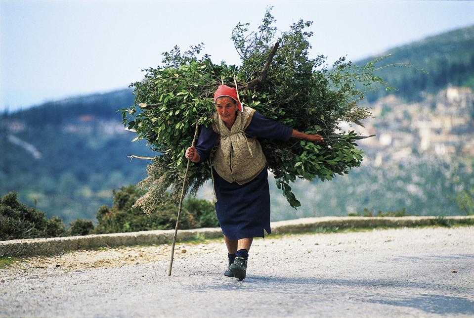 Country woman carrying a bundle of branches