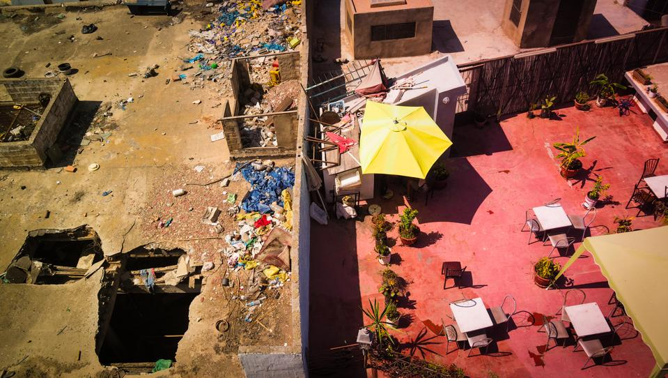 view from rooftop in Morocco, division between rich and poor