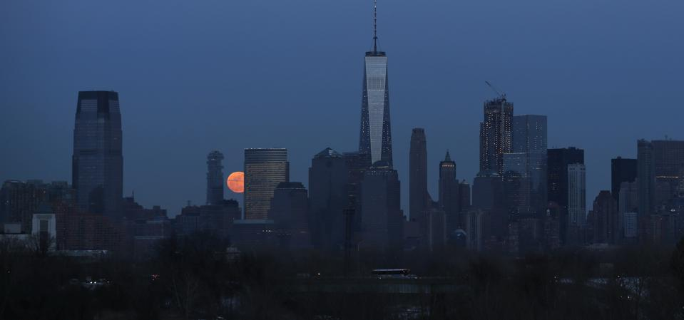 Snow Moon rises in New York City
