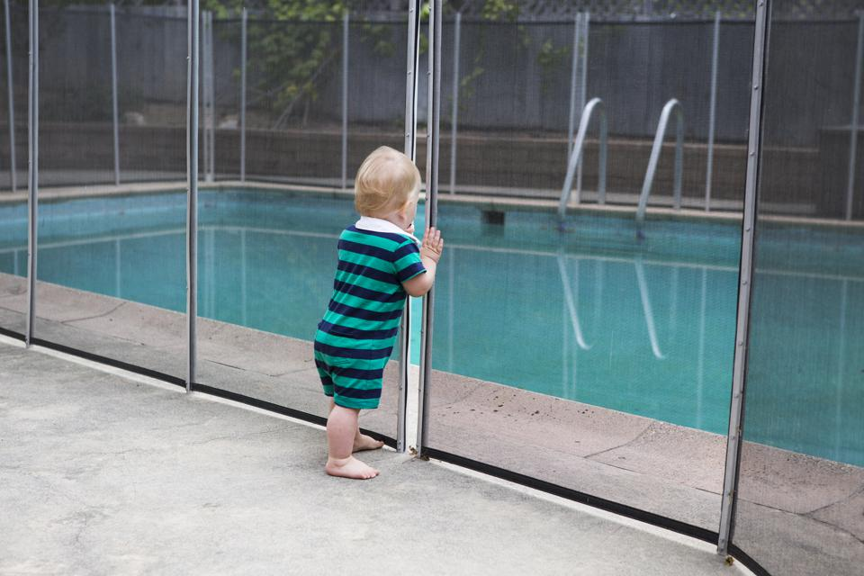 Toddler looking at Swimming Pool through crack in fence
