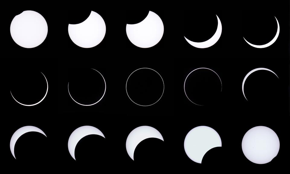 This combination of photos shows an annular solar eclipse, as seen from the Estancia El Muster, near Sarmiento, Chubut province, 1600 kilometres south of Buenos Aires on February 26, 2017.   Stargazers applauded as they were plunged into darkness Sunday when the moon passed in front of the sun in a spectacular ″ring of fire″ eclipse.  / AFP / ALEJANDRO PAGNI        (Photo credit should read ALEJANDRO PAGNI/AFP via Getty Images)