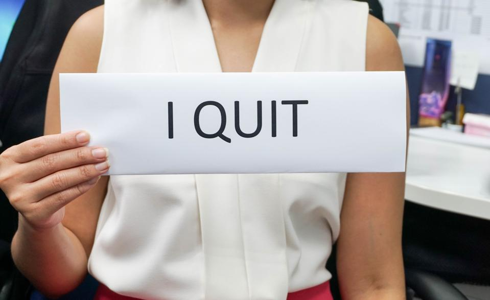 business concept of woman quit the job