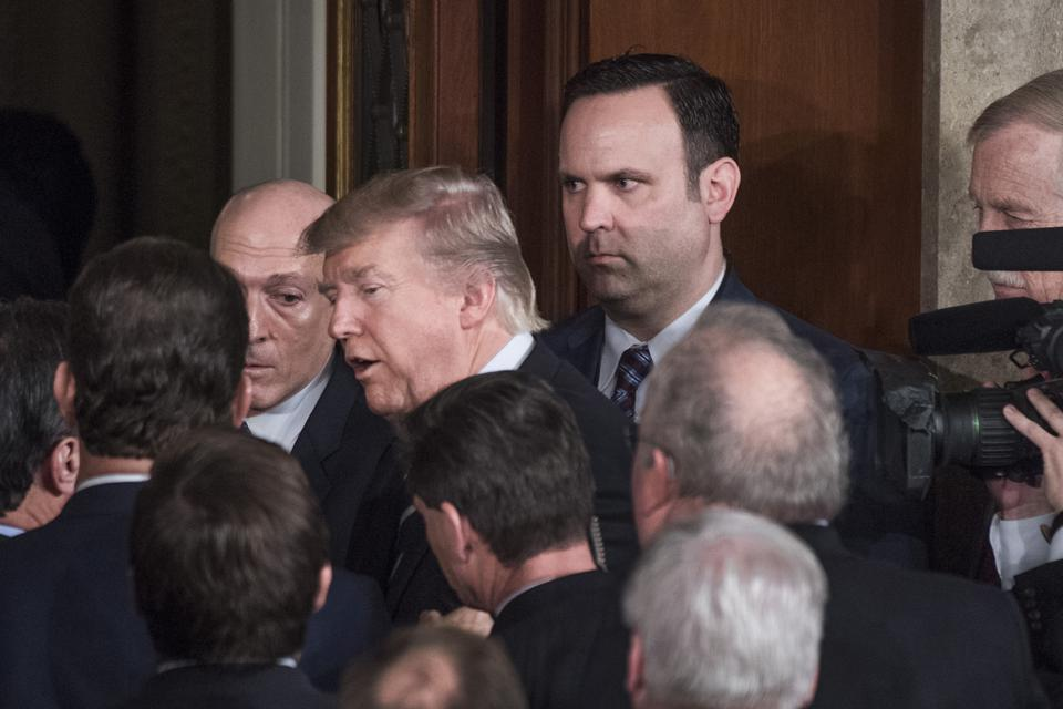 Donald Trump and Dan Scavino Jr. at a White House event.