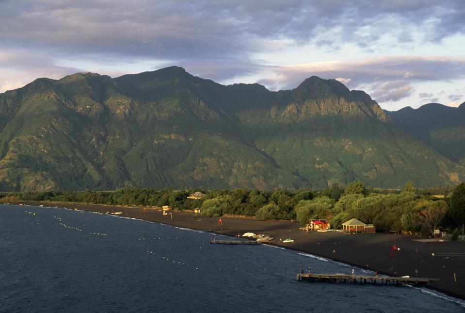 Coast of Villarrica lake near Pucon...