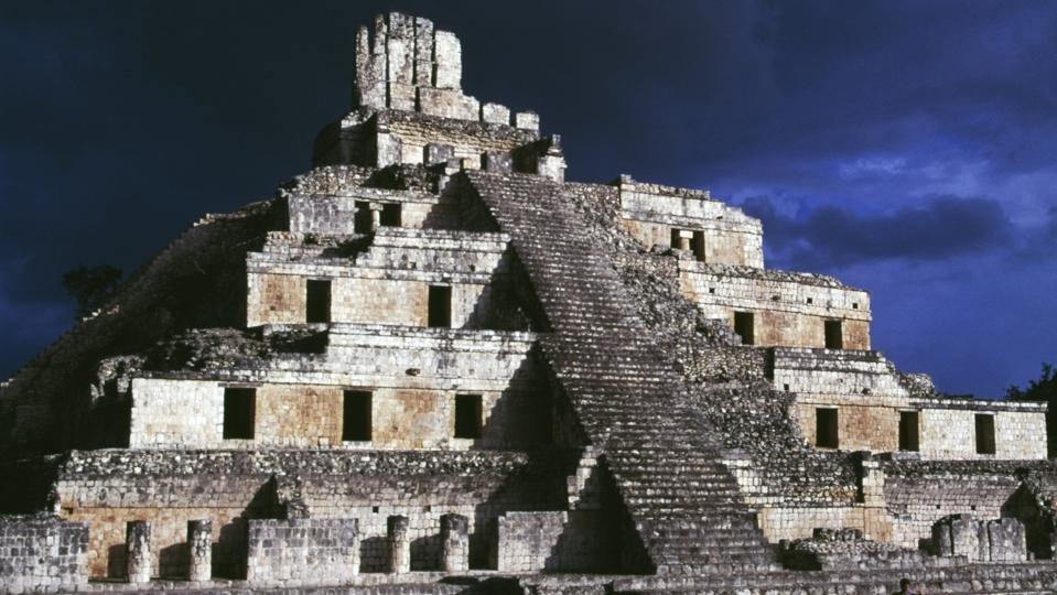 The Five-tier pyramid, Great Acropolis, Edzna...