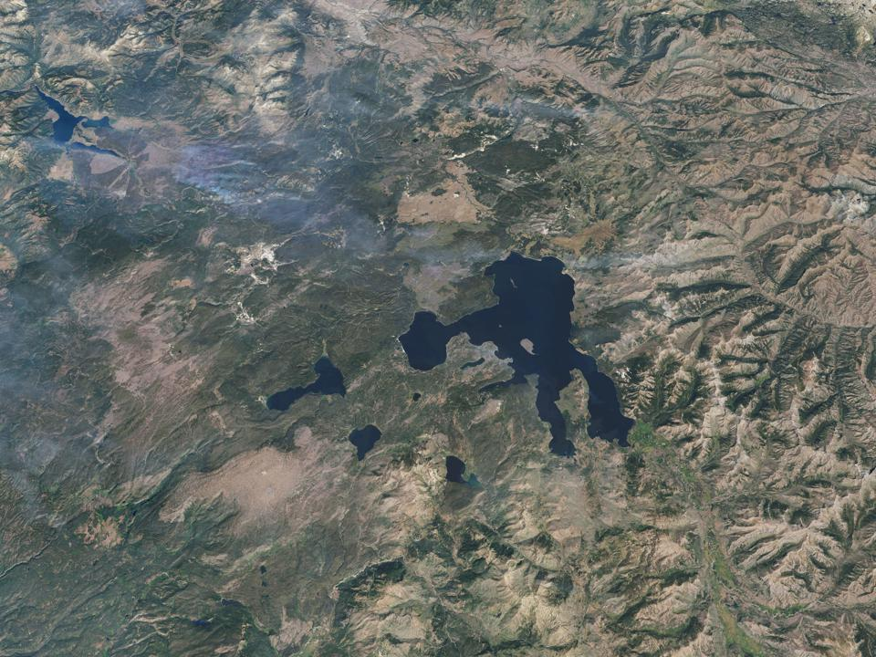 YELLOWSTONE NATIONAL PARK, WYOMING, AUGUST 28, 2016: This is a 3d rendered image of Yellowstone National Park. Imagery photo date, August 28, 2016.