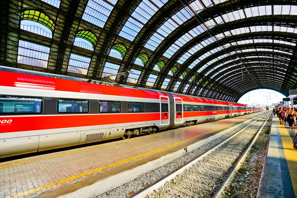 High-speed train at Milano Centrale railway station