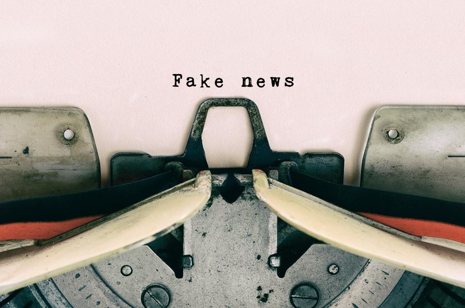 Fake News type on Vintage Typewriter