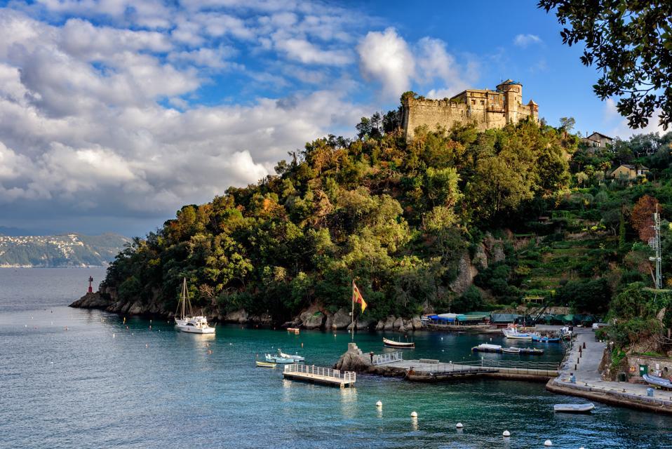 Ruins of castle, located on a hill near Portofino town