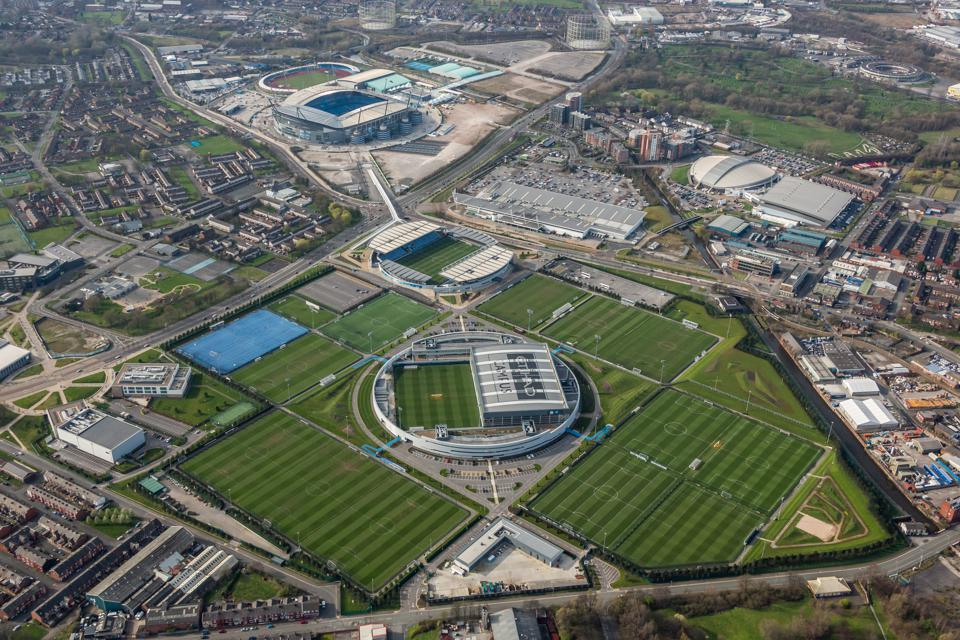Aerial photograph of the Etihad Campus, training ground  to Manchester city football club and home to Manchester city football academy