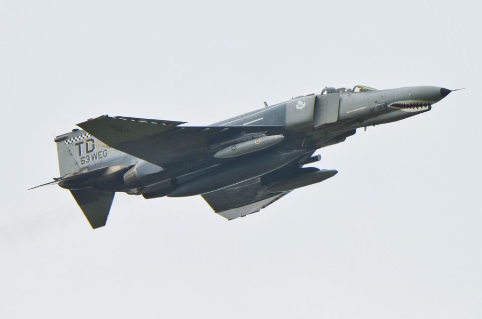 AirVenture2016, F-4 Phantom II Jet Fighter, with slat on forward wing edge clearly visible