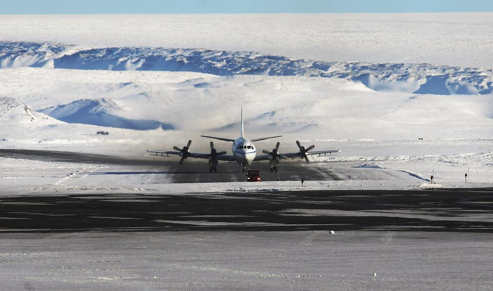 NASA's Operation IceBridge research aircraft taxis after landing at Thule Air Base.