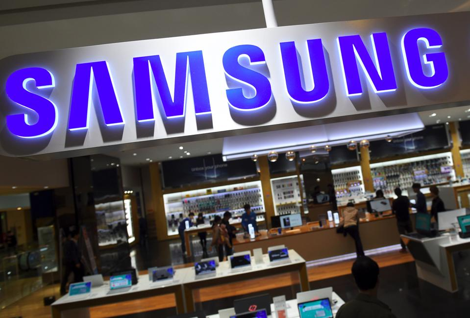 Samsung banner seen in a Samsung retail outlet