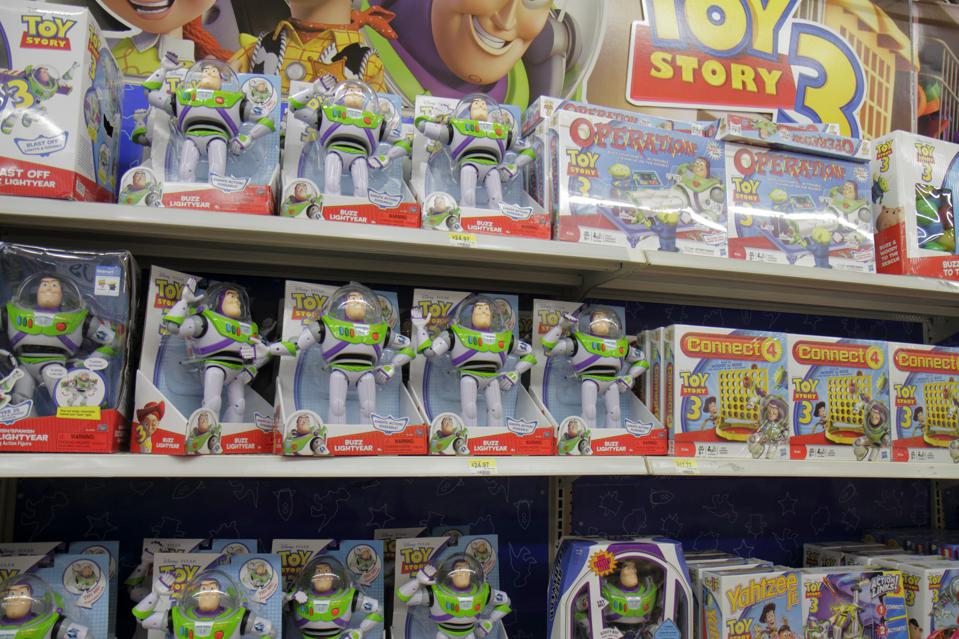 Toy Story toys for sale in Wal-Mart.