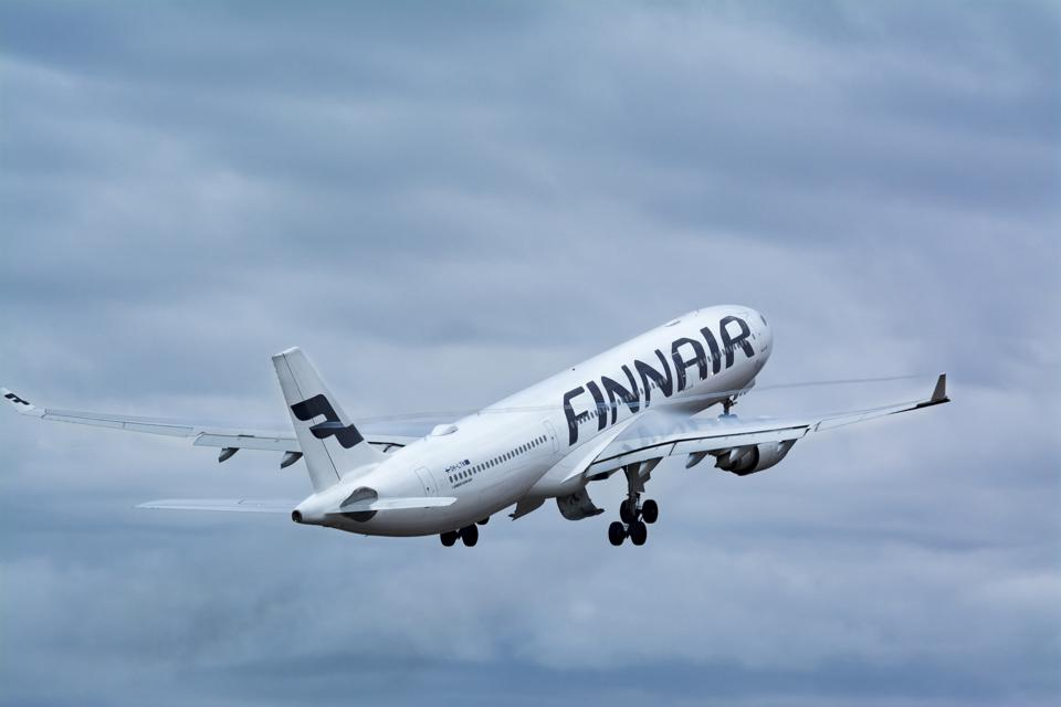 Finland, Helsinki-Vantaa Airport, March 11, 2017 Finnair Airlines Airbus A330 taking off