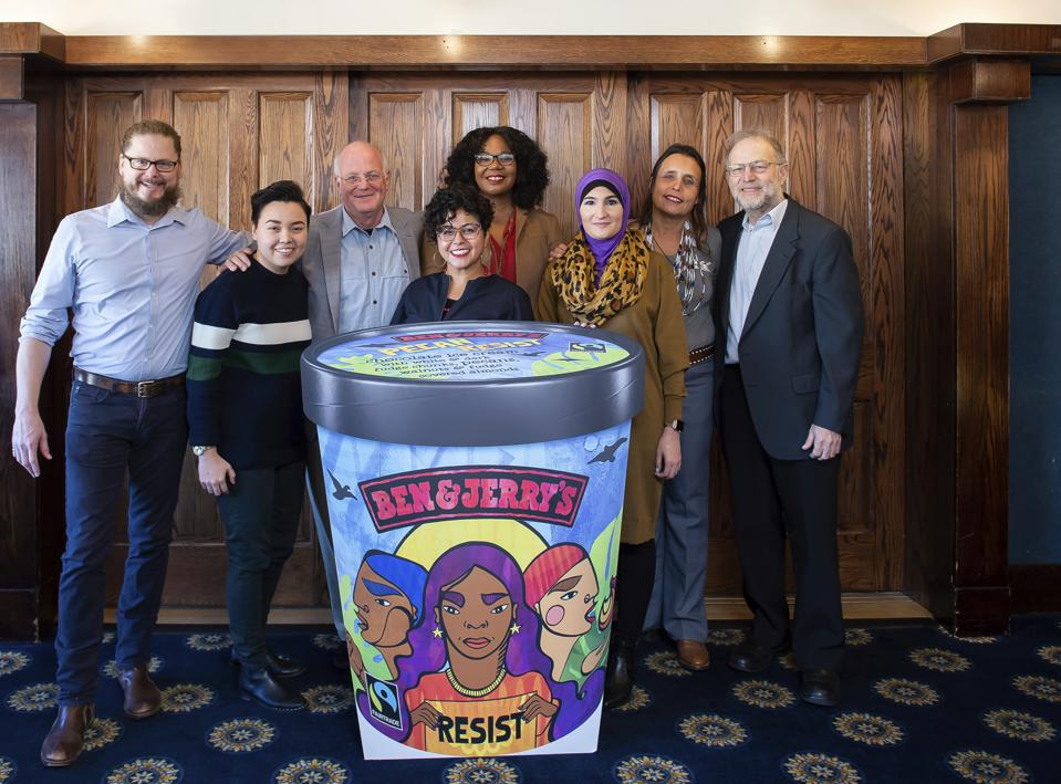 Winona LaDuke (2nd from right) and other activists at the launch of Ben & Jerry's Pecan Resist Campaign and Flavor Unveil.