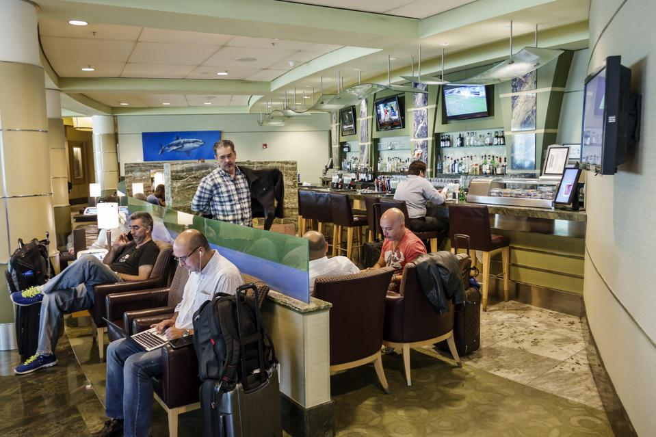 The interior of the business lounge at American Airlines Admirals Club.