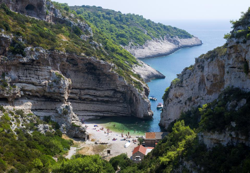 Stiniva beach in Vis, Croatia, one of the few places which is currently allowing U.S. visitors to travel