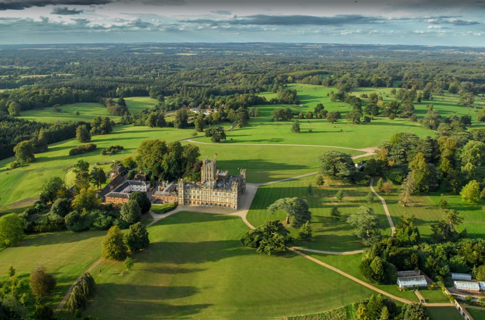 Aerial photograph of the Earl of Carnarvon's Highclere Castle, Hampshire