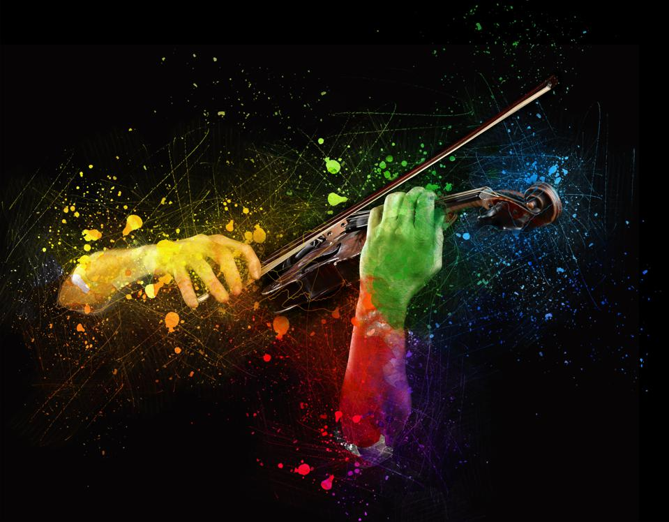 Hands playing  wooden violin