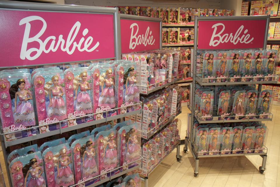 A Barbie retail display inside Toys R Us, Times Square.
