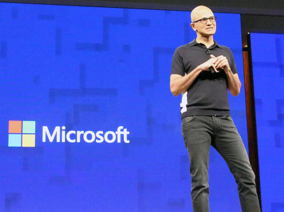 Microsoft chief executive Satya Nadella opens the US technology titan's annual Build Conference in Seattle on May 10, 2017 with a focus on a future rich with artificial intelligence that follows people from device to device.(Photo credit: GLENN CHAPMAN/AFP/Getty Images)