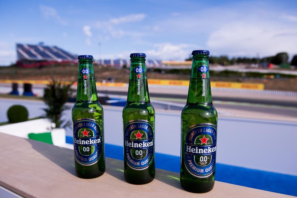 Bottles of Heineken 0.0. Photo by Alex Caparros/Getty Images for Heineken