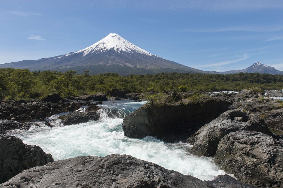 The Petrohue Rapids and Osorno Volcano in Vicente Perez...