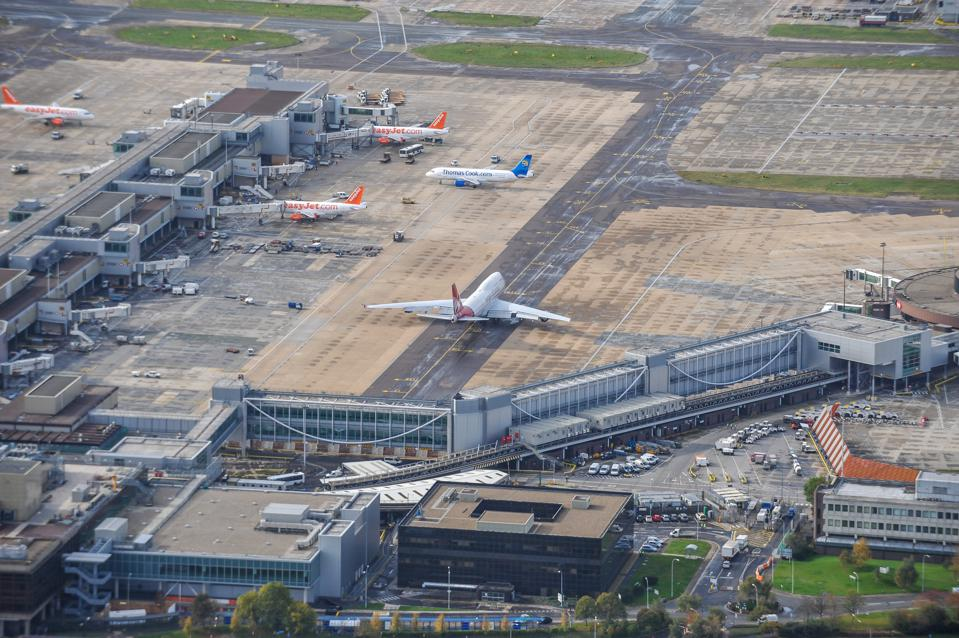 Aerial photograph of Gatwick Airport, West Sussex.