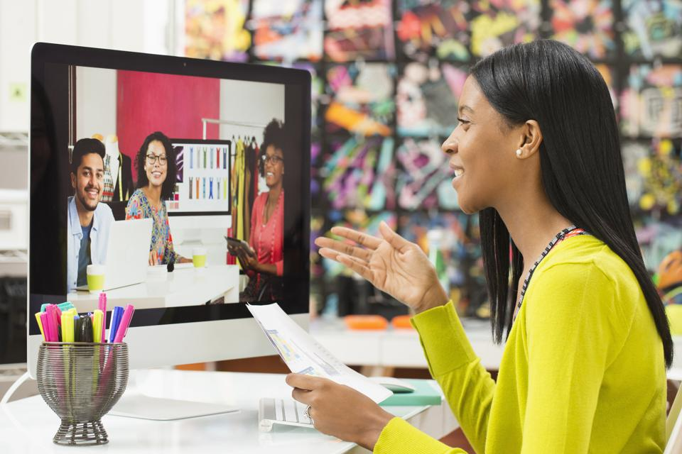 Creative business people meeting via video conference
