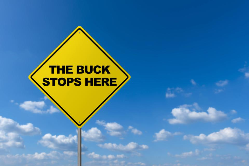 THE BUCK STOPS HERE - Road Warning Sign