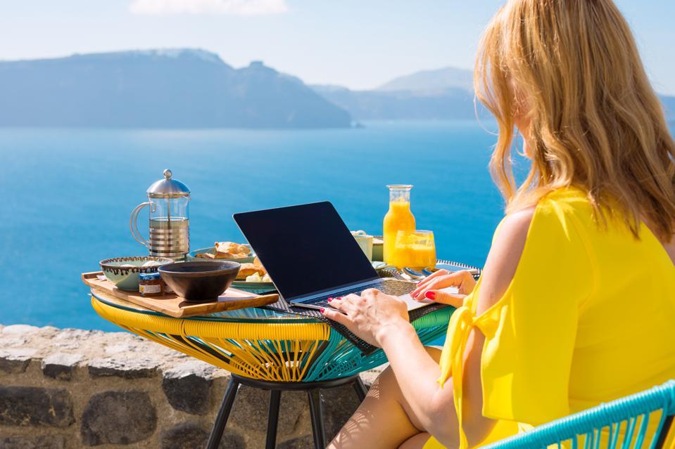 remote work laptop greece mediterranean