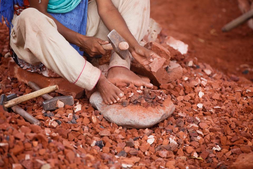 Bangladeshi Child labor break bricks
