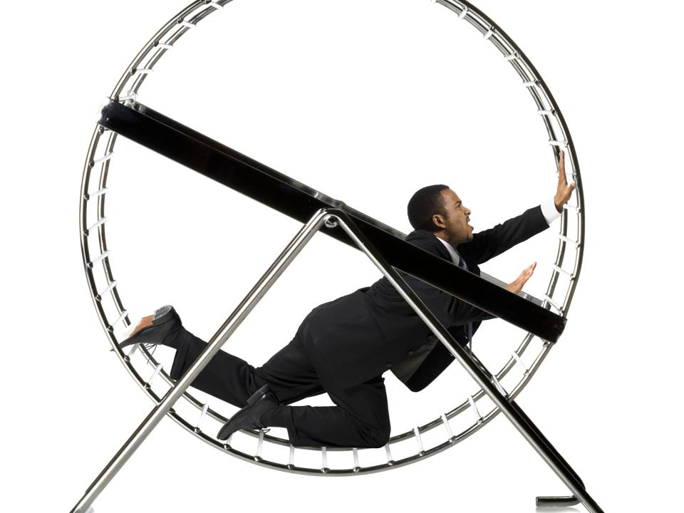 CEO on the hamster wheel of short-termism.