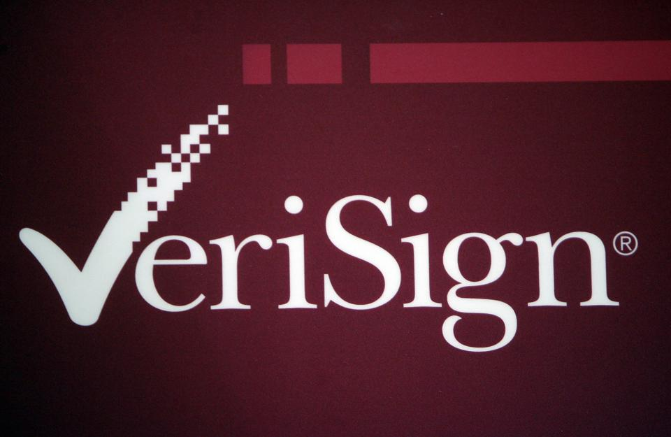 The VeriSign logo is pictured at the RSA...