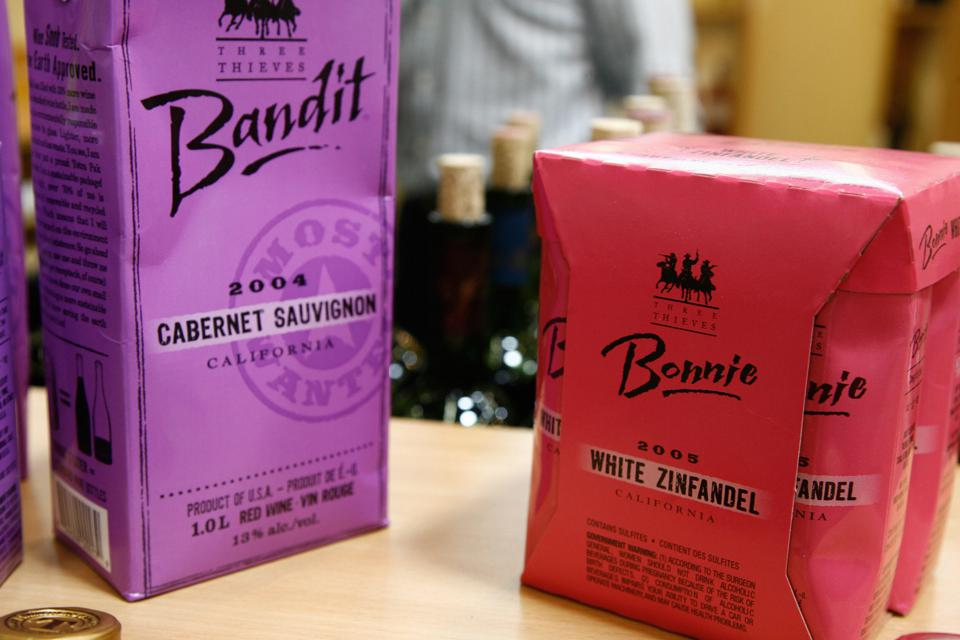 Red and purple cartons of ″Bandit″ wine are displayed at the Vinexpo wine and spirits fair, held in Bordeaux every second year.
